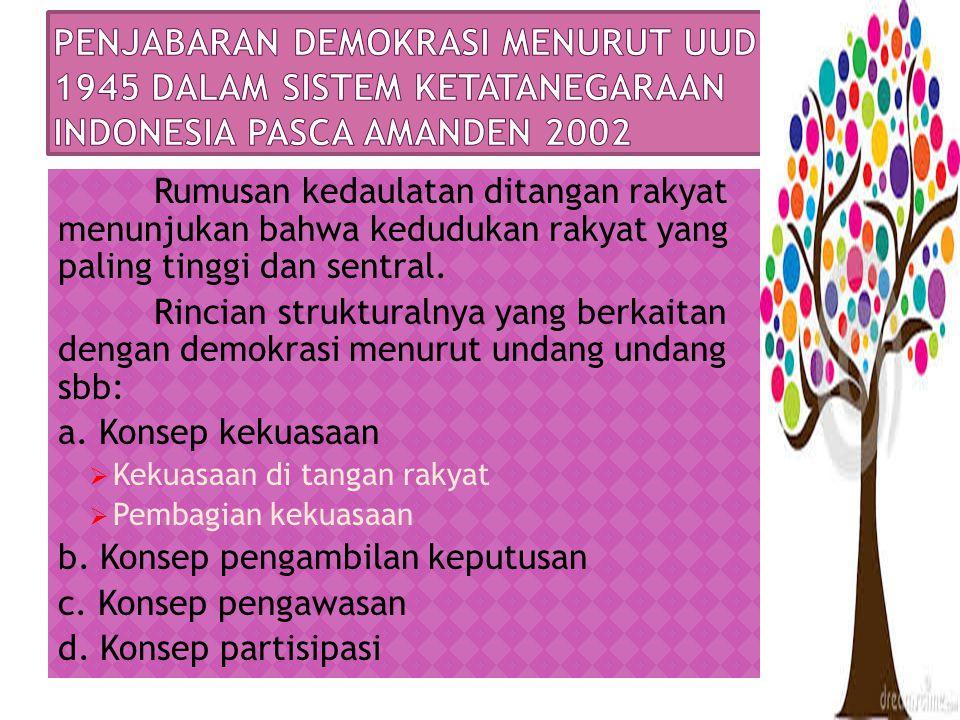 Penjabaran demokrasi menurut uud 1945 dalam sistem ketatanegaraan indonesia pasca amanden 2002