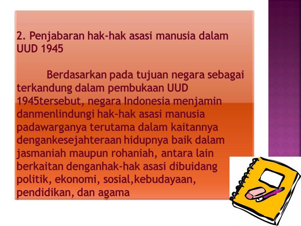 2. Penjabaran hak-hak asasi manusia dalam UUD 1945