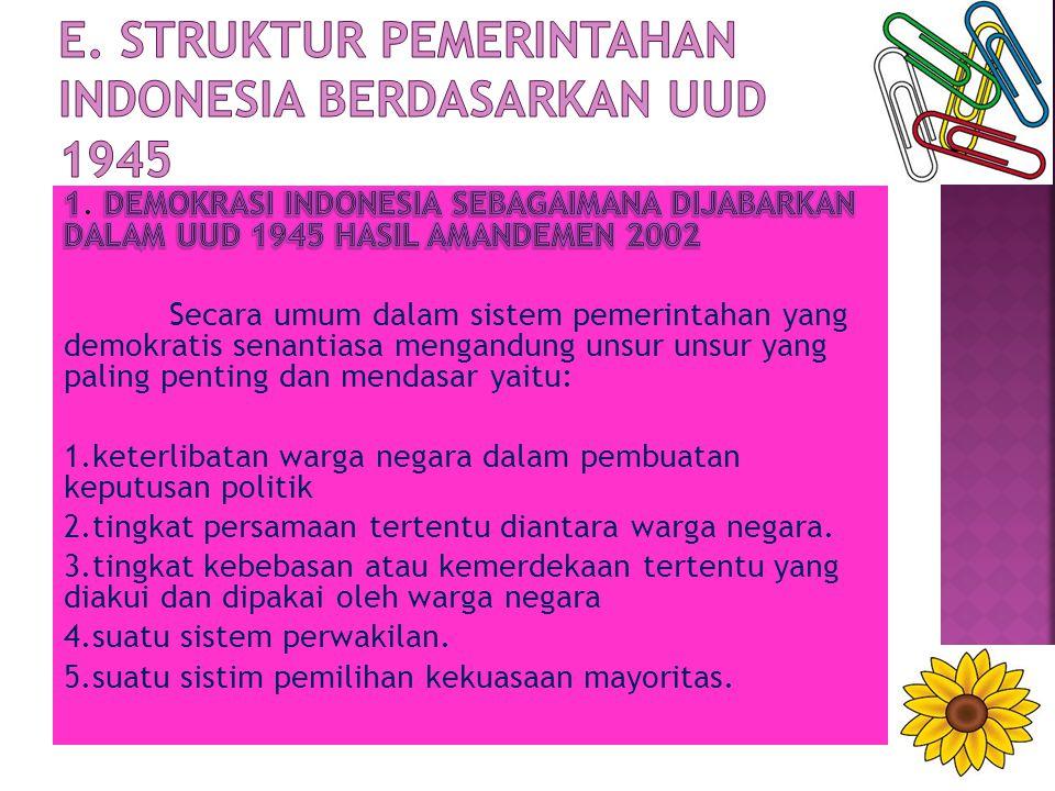 E. STRUKTUR PEMERINTAHAN INDONESIA BERDASARKAN UUD 1945