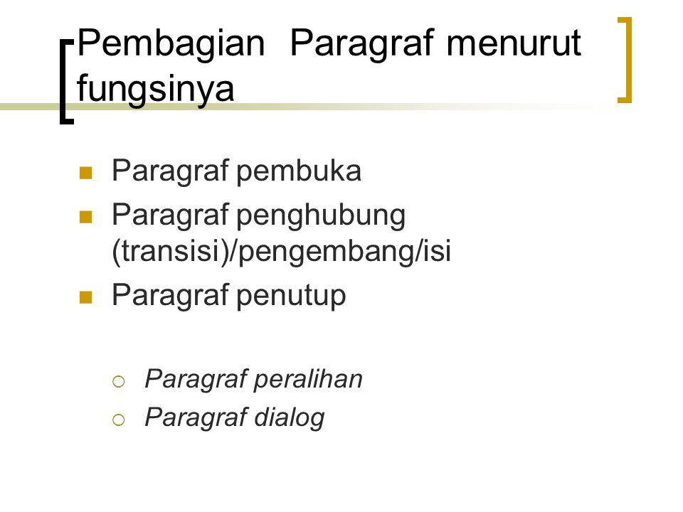 Pembagian Paragraf menurut fungsinya