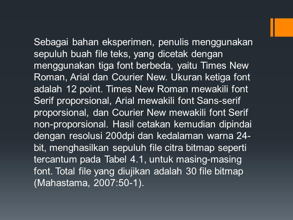 Sebagai bahan eksperimen, penulis menggunakan sepuluh buah file teks, yang dicetak dengan menggunakan tiga font berbeda, yaitu Times New Roman, Arial dan Courier New.