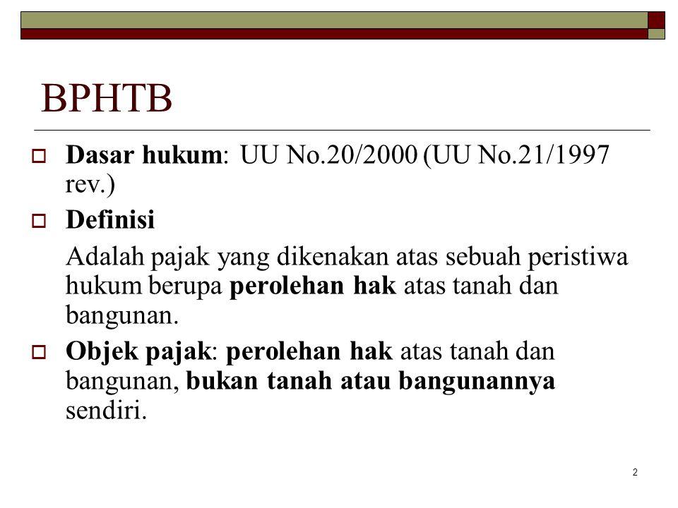 BPHTB Dasar hukum: UU No.20/2000 (UU No.21/1997 rev.) Definisi