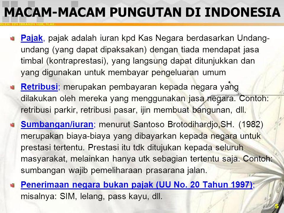 MACAM-MACAM PUNGUTAN DI INDONESIA