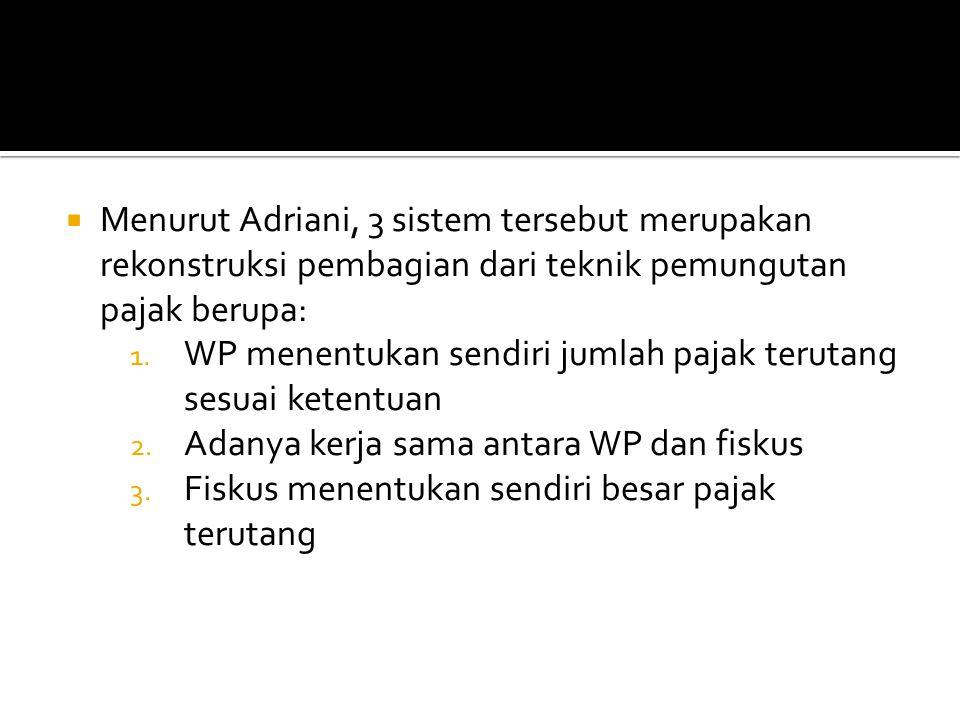 Menurut Adriani, 3 sistem tersebut merupakan rekonstruksi pembagian dari teknik pemungutan pajak berupa: