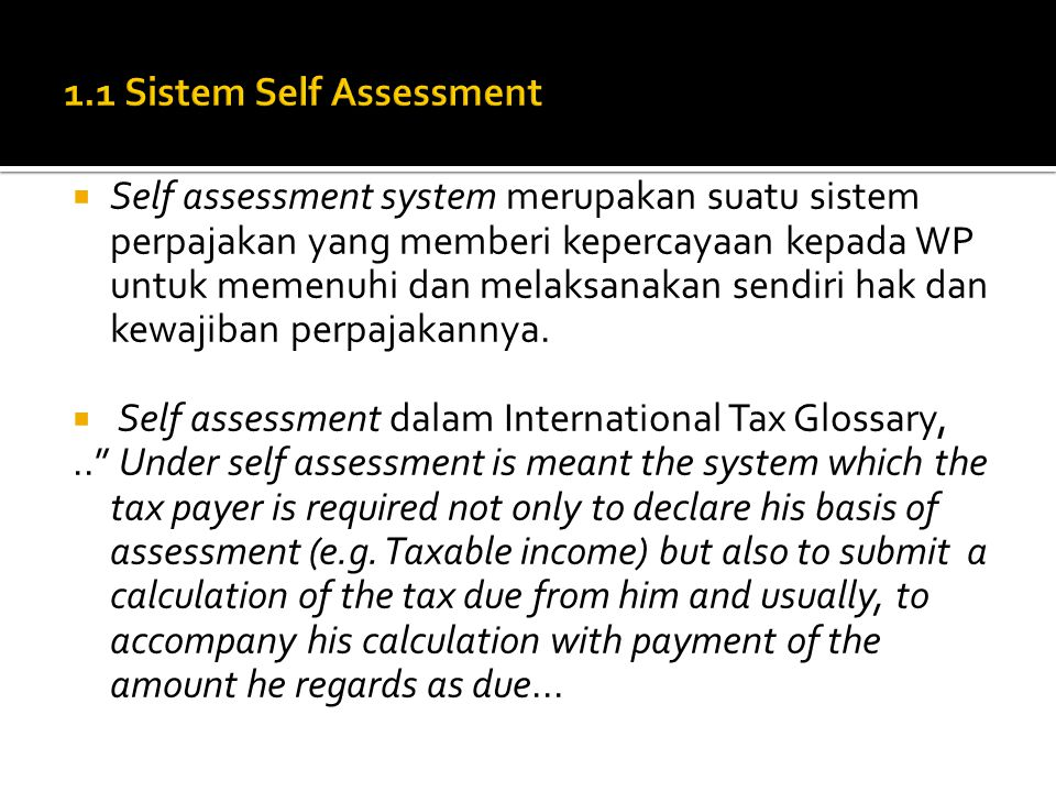 1.1 Sistem Self Assessment