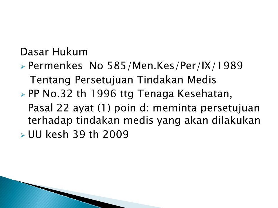 Dasar Hukum Permenkes No 585/Men.Kes/Per/IX/1989. Tentang Persetujuan Tindakan Medis. PP No.32 th 1996 ttg Tenaga Kesehatan,