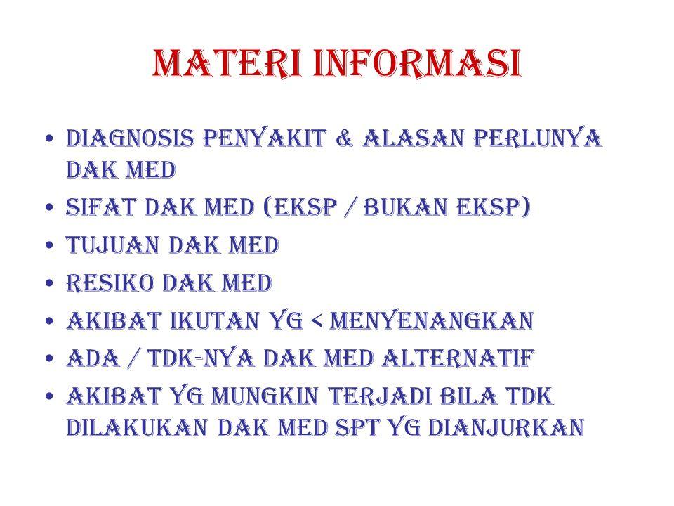 MATERI INFORMASI DIAGNOSIS PENYAKIT & ALASAN PERLUNYA DAK MED