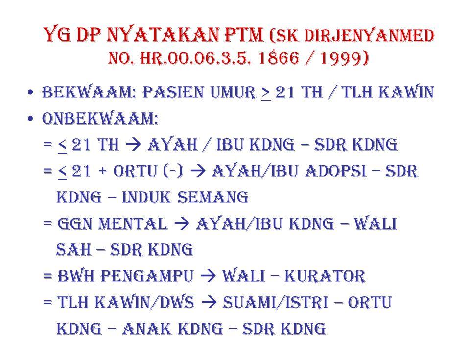 YG DP NYATAKAN PTM (SK DIRJENYANMED NO. HR.00.06.3.5. 1866 / 1999)