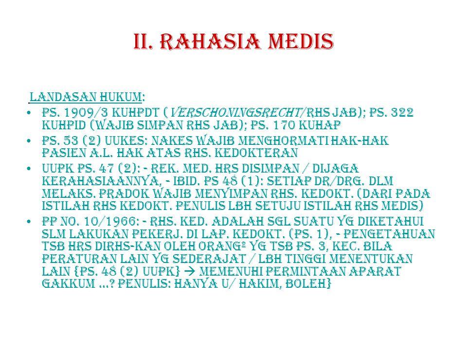 II. RAHASIA MEDIs LANDASAN HUKUM: Ps. 1909/3 KUHPdt (verschoningsrecht/rhs jab); ps. 322 kuhpid (wajib simpan rhs jab); ps. 170 kuhap.