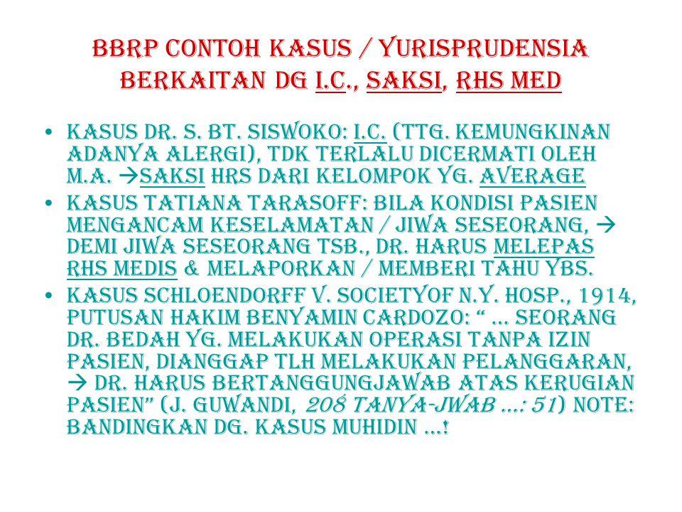 BBRP contoh kasus / YURISPRUDENSIA berkaitan dg i.c., saksi, rhs med