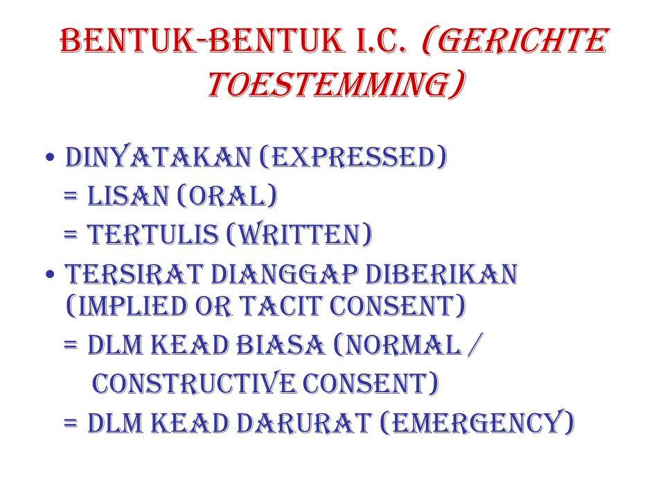 BENTUK-BENTUK I.C. (GERICHTE TOESTEMMING)
