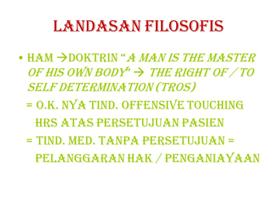 Landasan filosofis Ham doktrin a man is the master of his own body  the right of / to self determination (tros)