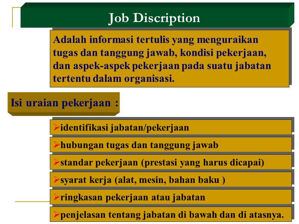 Job Discription Isi uraian pekerjaan :