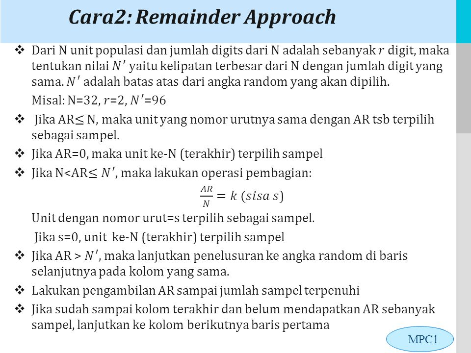 Cara2: Remainder Approach