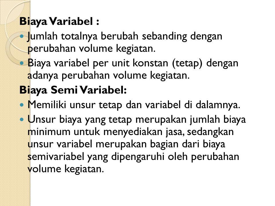 Biaya Variabel : Jumlah totalnya berubah sebanding dengan perubahan volume kegiatan.