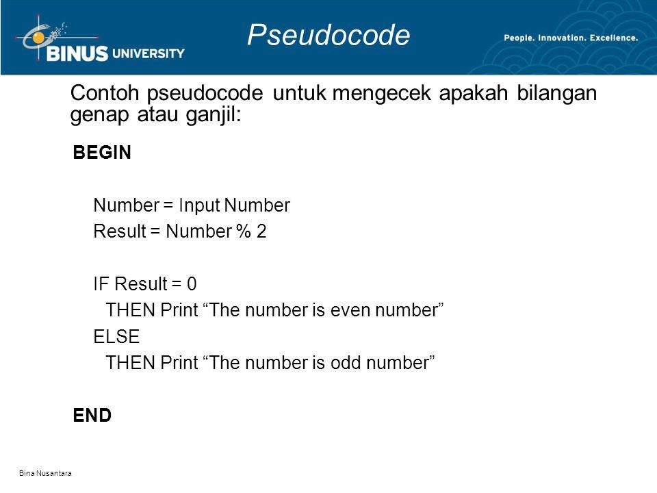 Pseudocode Contoh pseudocode untuk mengecek apakah bilangan genap atau ganjil: BEGIN. Number = Input Number.