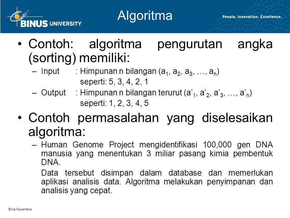 Contoh: algoritma pengurutan angka (sorting) memiliki: