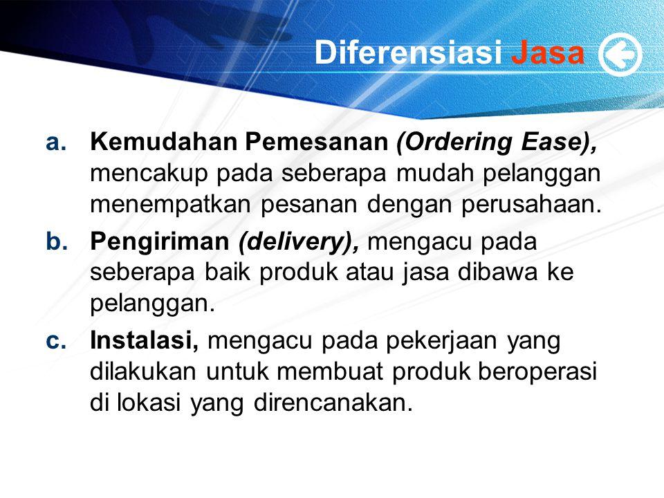 Diferensiasi Jasa Kemudahan Pemesanan (Ordering Ease), mencakup pada seberapa mudah pelanggan menempatkan pesanan dengan perusahaan.