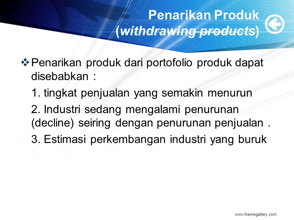 Penarikan Produk (withdrawing products)