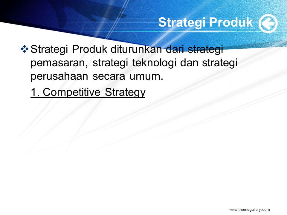 Strategi Produk Strategi Produk diturunkan dari strategi pemasaran, strategi teknologi dan strategi perusahaan secara umum.