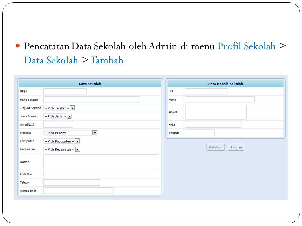 Pencatatan Data Sekolah oleh Admin di menu Profil Sekolah > Data Sekolah > Tambah