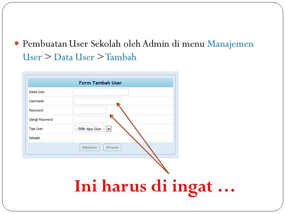 Pembuatan User Sekolah oleh Admin di menu Manajemen User > Data User > Tambah