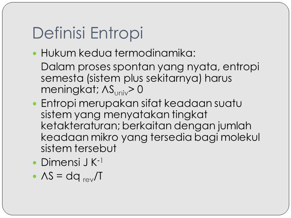 Definisi Entropi Hukum kedua termodinamika: