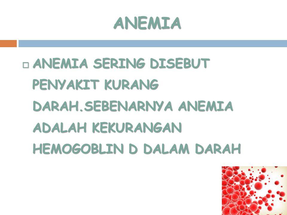 ANEMIA ANEMIA SERING DISEBUT PENYAKIT KURANG DARAH.SEBENARNYA ANEMIA ADALAH KEKURANGAN HEMOGOBLIN D DALAM DARAH.