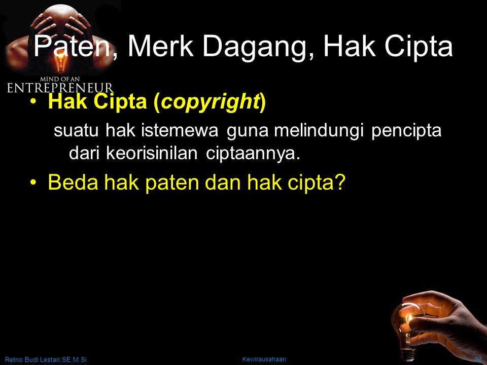 Paten, Merk Dagang, Hak Cipta