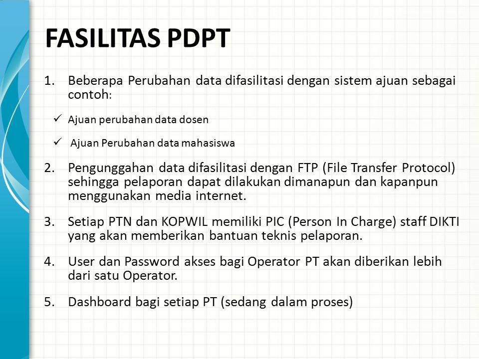 FASILITAS PDPT Beberapa Perubahan data difasilitasi dengan sistem ajuan sebagai contoh: Ajuan perubahan data dosen.