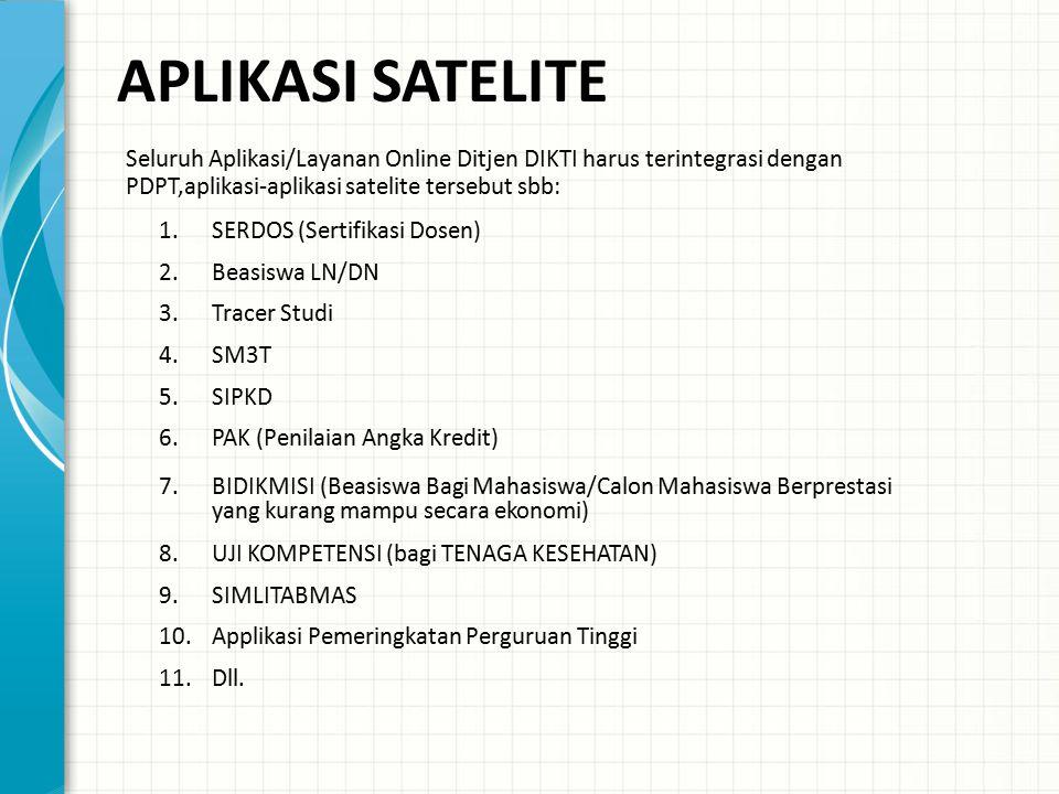 APLIKASI SATELITE Seluruh Aplikasi/Layanan Online Ditjen DIKTI harus terintegrasi dengan PDPT,aplikasi-aplikasi satelite tersebut sbb: