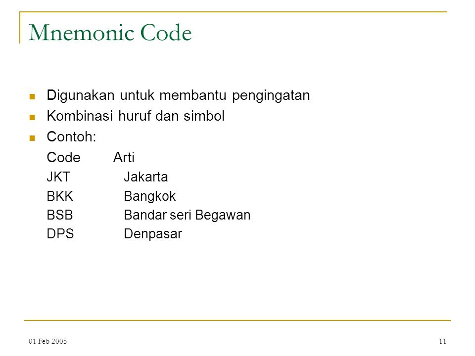 Mnemonic Code Digunakan untuk membantu pengingatan