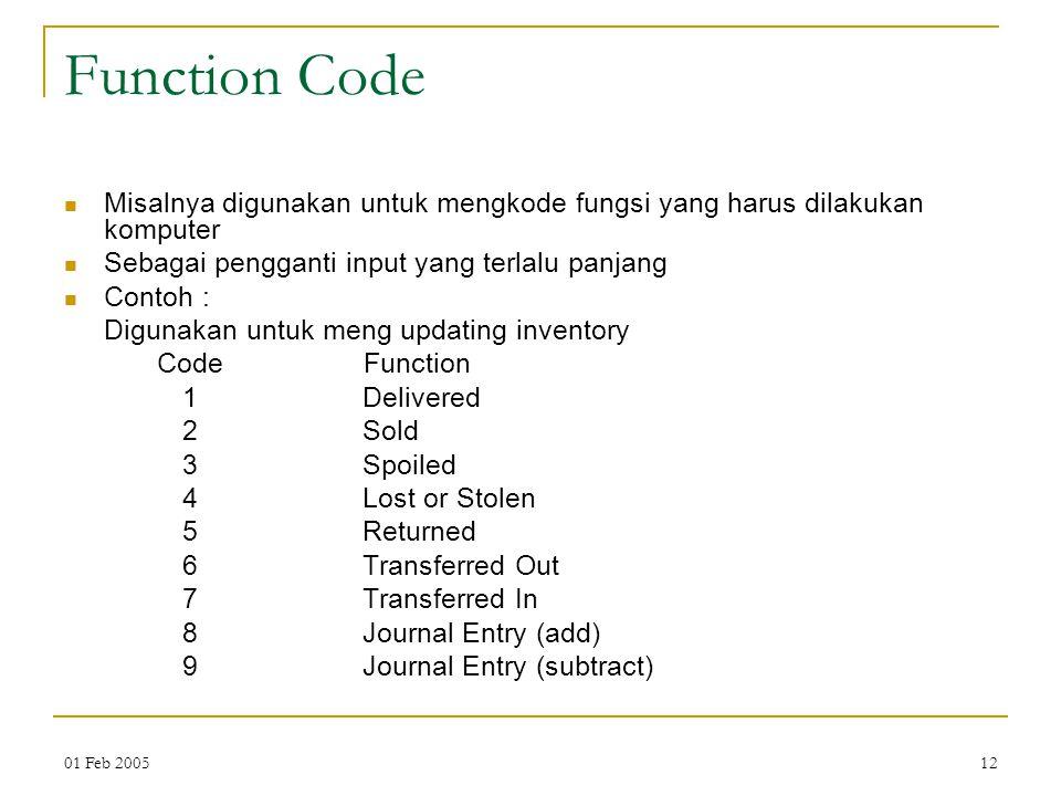 Function Code Misalnya digunakan untuk mengkode fungsi yang harus dilakukan komputer. Sebagai pengganti input yang terlalu panjang.