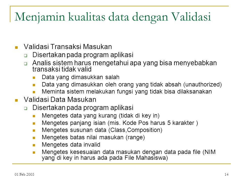 Menjamin kualitas data dengan Validasi