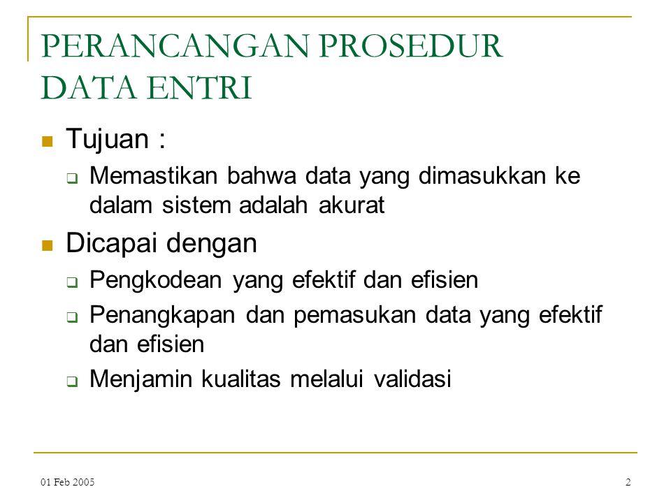 PERANCANGAN PROSEDUR DATA ENTRI