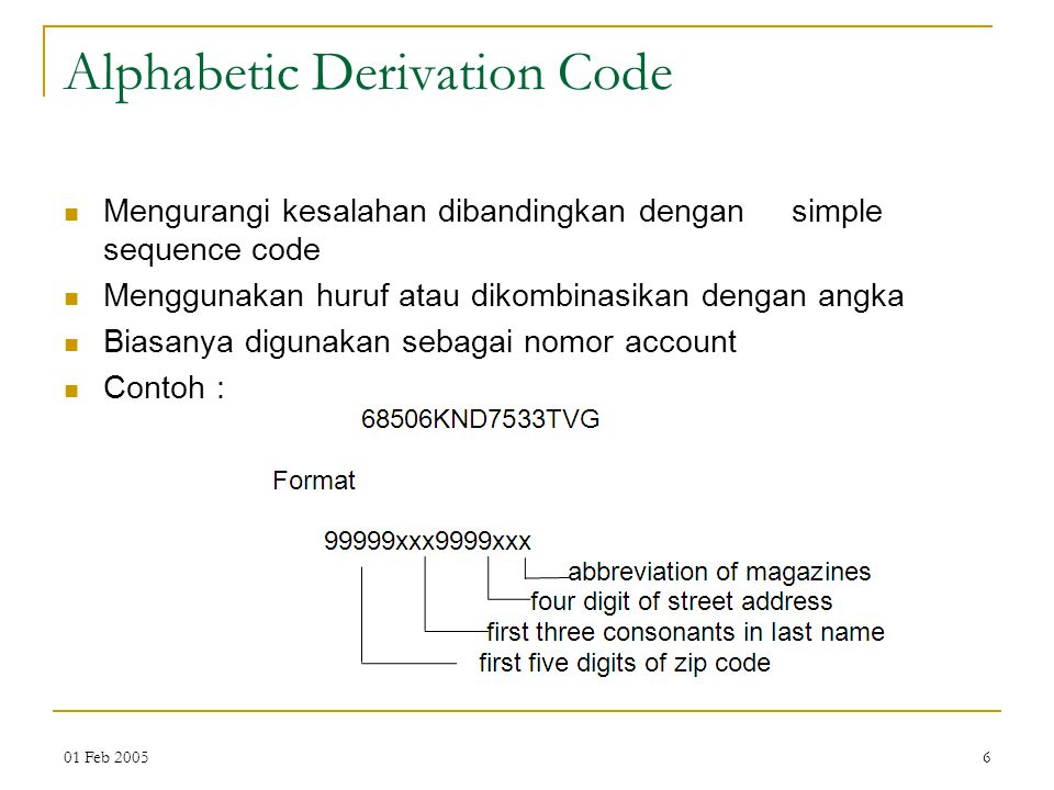 Alphabetic Derivation Code