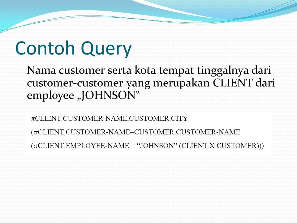 "Contoh Query Nama customer serta kota tempat tinggalnya dari customer-customer yang merupakan CLIENT dari employee ""JOHNSON"""