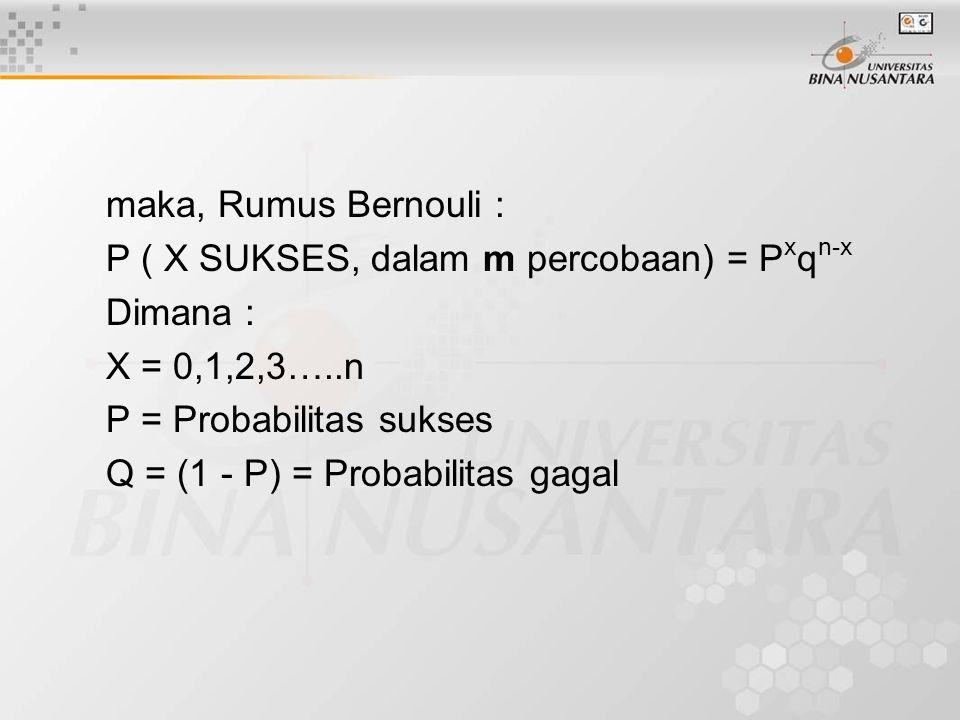 maka, Rumus Bernouli : P ( X SUKSES, dalam m percobaan) = Pxqn-x. Dimana : X = 0,1,2,3…..n. P = Probabilitas sukses.