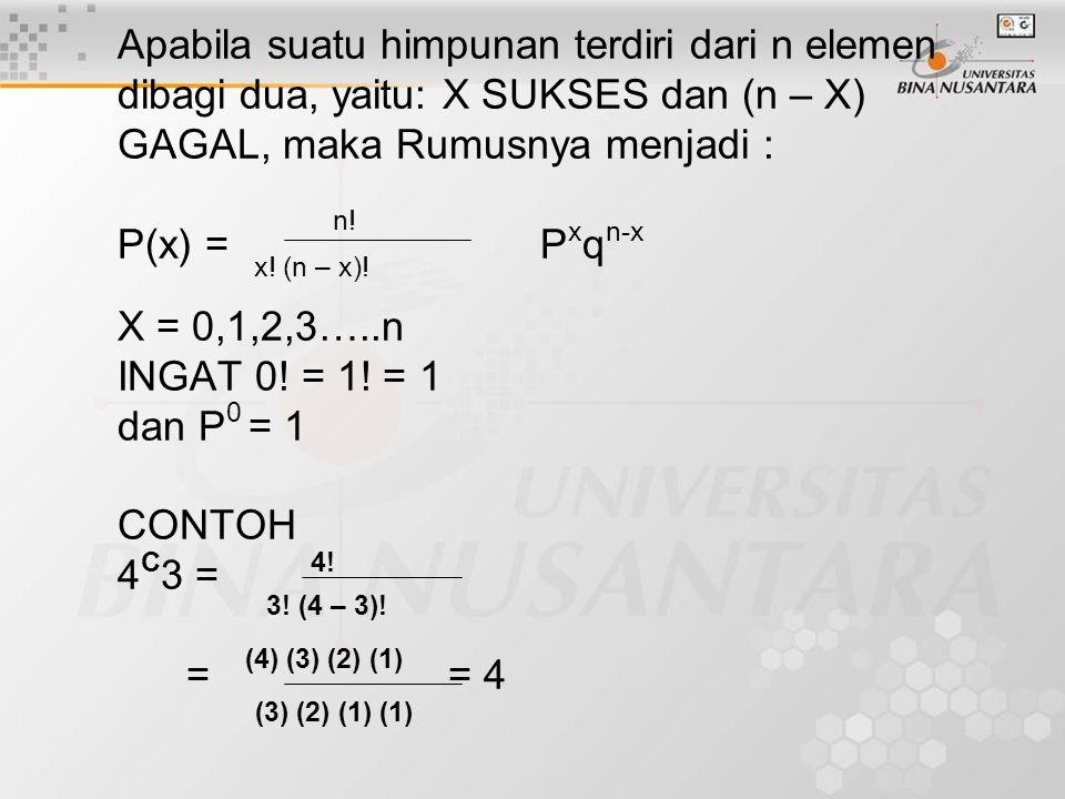 Apabila suatu himpunan terdiri dari n elemen dibagi dua, yaitu: X SUKSES dan (n – X) GAGAL, maka Rumusnya menjadi : P(x) = n! Pxqn-x x.