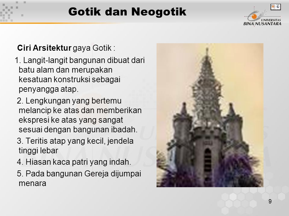 Ciri Arsitektur gaya Gotik :