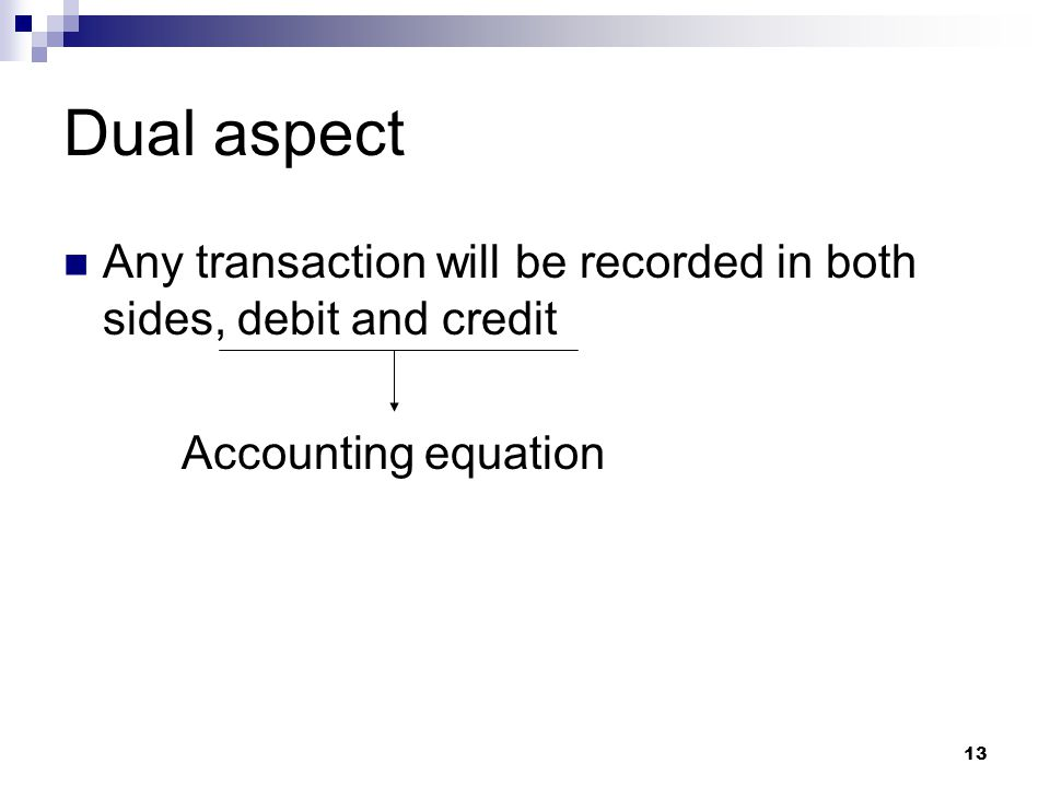 Dual aspect Any transaction will be recorded in both sides, debit and credit Accounting equation