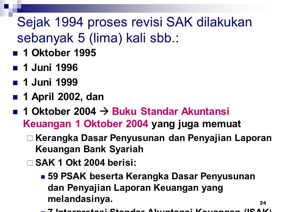 Sejak 1994 proses revisi SAK dilakukan sebanyak 5 (lima) kali sbb.: