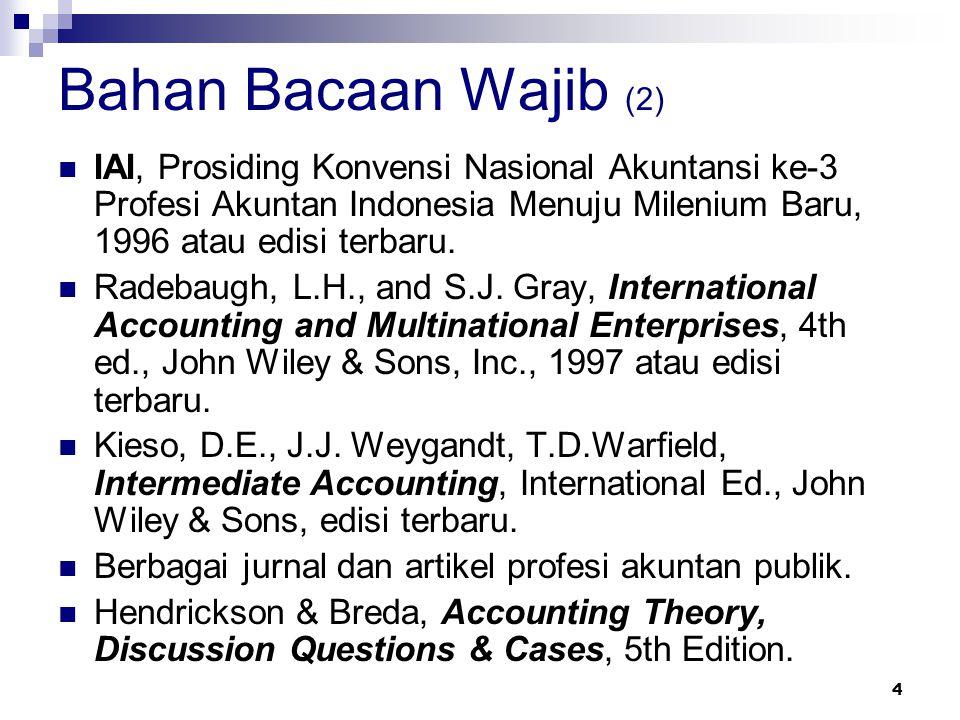 Bahan Bacaan Wajib (2) IAI, Prosiding Konvensi Nasional Akuntansi ke-3 Profesi Akuntan Indonesia Menuju Milenium Baru, 1996 atau edisi terbaru.