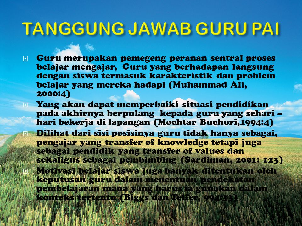 TANGGUNG JAWAB GURU PAI