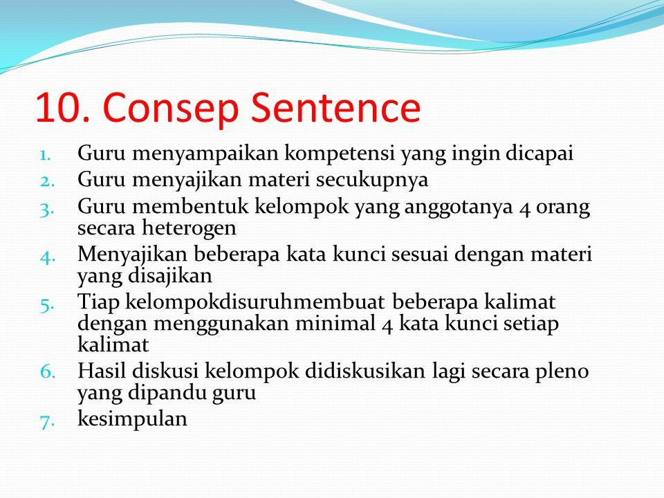 10. Consep Sentence Guru menyampaikan kompetensi yang ingin dicapai