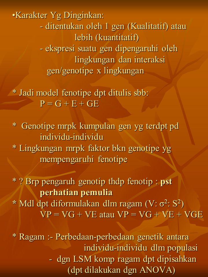 Karakter Yg Dinginkan:. - ditentukan oleh 1 gen (Kualitatif) atau
