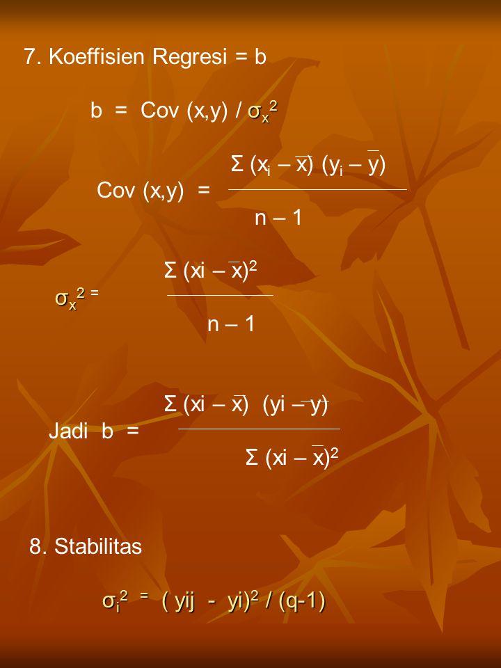 Koeffisien Regresi = b b = Cov (x,y) / σx2. Σ (xi – x) (yi – y) Cov (x,y) = n – 1. Σ (xi – x)2.