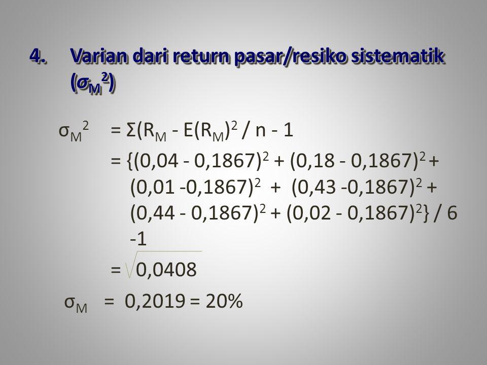 Varian dari return pasar/resiko sistematik (σM2)