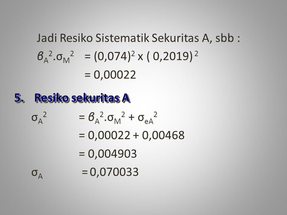 Jadi Resiko Sistematik Sekuritas A, sbb :