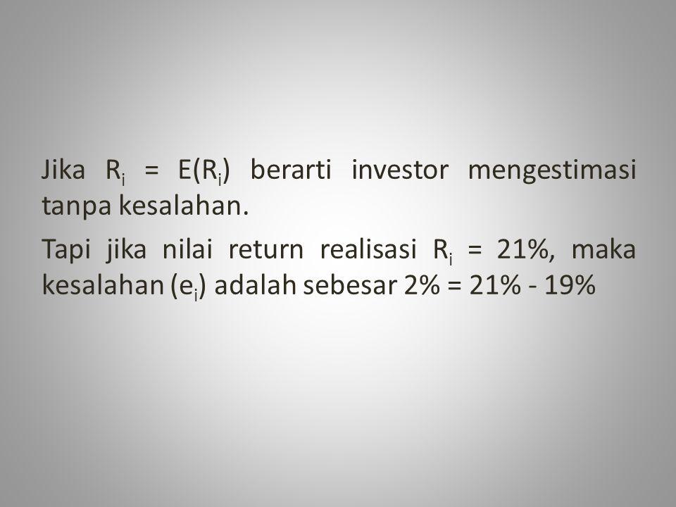 Jika Ri = E(Ri) berarti investor mengestimasi tanpa kesalahan.
